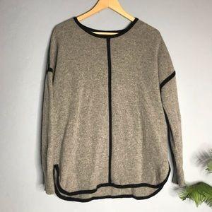 J Crew Gray Oversized Black Stripe Wool Sweater S